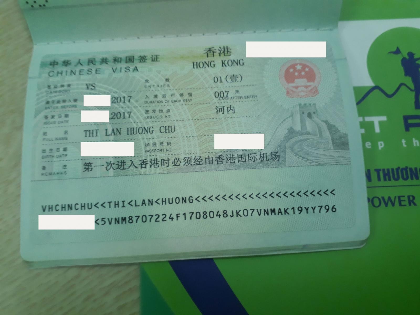Chúc mừng chị Chu Thị Lan Hương đã có Visa Hồng Kông