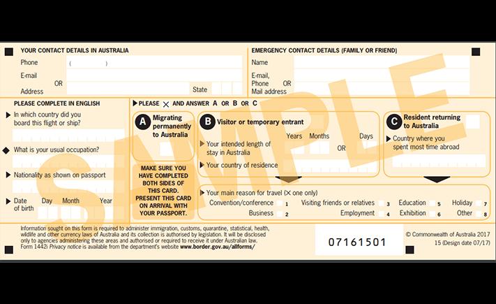 Điền tờ khai nhập cảnh Úc